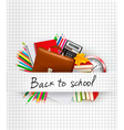 School supplies on a paper Education background vector image vector image