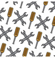 seamless pattern wrench and screwdriver tool vector image vector image