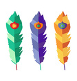 Set of three flat colorful feathers vector image