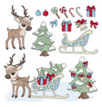 sled deer new year color set vector image