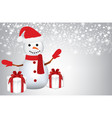 snowman with presents on blurred background vector image vector image