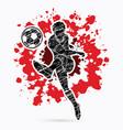 soccer player shooting a ball action vector image vector image