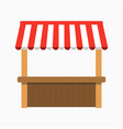 street stall with awning kiosk with wooden rack vector image vector image