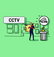 surveillance camera capturing masked thief vector image vector image