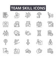 team skill line icons for web and mobile design vector image vector image