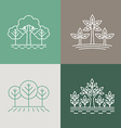 Trees and parks logo design elements in linear