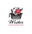 typewriter and rose vector image