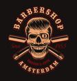 vintage barber skull with crossed razor vector image vector image
