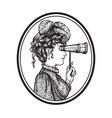 vintage woman with binocular vector image vector image