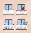 windows with happy people doing daily things in vector image