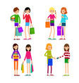 woman with shopping bags and credit card young vector image vector image