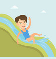 young caucasian woman riding down a waterslide vector image vector image