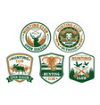 hunting club wild animals icons for badges vector image