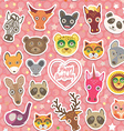 Seamless pattern Funny Animals White heart on pink vector image