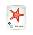 Vintage background with starfish Card with sea vector image