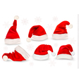 Big collection of red santa hats vector image vector image