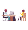 black male doctor therapist consulting patient vector image