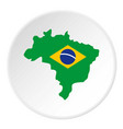 brazil flag on brazilian map icon circle vector image