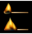 Burning matches on black background vector image vector image