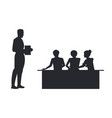 businessman with book side view and people sitting vector image vector image