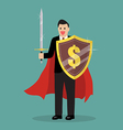 Businessman with shield and sword vector image vector image