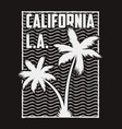 california print for t-shirt with palm and waves vector image