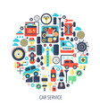 car service flat infographics icons in circle vector image vector image