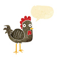 cartoon chicken with speech bubble vector image vector image