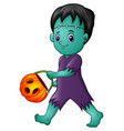 cartoon frankenstein with pumpkin basket vector image