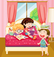 Children reading books in bedroom vector image