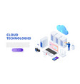 cloud technologies design concept with people vector image vector image