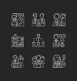 corporate hierarchy chalk white icons set vector image vector image