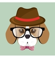 cute hipster doggy hat glasses bow vector image