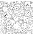 doodle clock hand drawn background vector image vector image