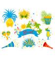 flat set of brazilian festive attributes vector image vector image