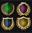 golden shield set with laurel wreath vector image vector image