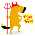 halloween dog character in costume of devil with vector image vector image