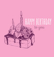 happy birthday cake with a candle in a cake vector image vector image