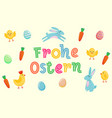 happy easter german cute banner with colored vector image vector image