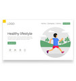 healthy lifestyle man running in park banner vector image vector image