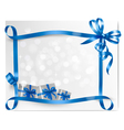 Holiday background with blue gift bow with gift vector image vector image