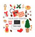 hygge winter elements set vector image vector image