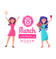 international womens day greeting card girls vector image vector image