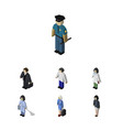 isometric people set of doctor housemaid male vector image vector image