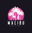 malibu pacific coast tee print with palm trees t vector image vector image