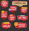 modern origami sale stickers and tags red vector image