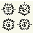 Monogram style linear with the letters p r s t vector image