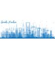 outline saudi arabia skyline with blue landmarks vector image vector image
