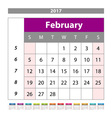 planning calendar February 2017 Monthly scheduler vector image vector image