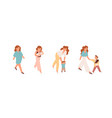 pregnant woman mother with newborn bamom vector image vector image